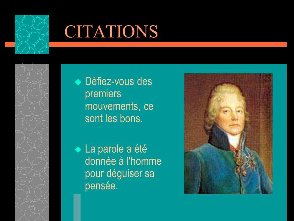 Charles Maurice de Talleyrand-Périgord (1754-1838) Homme politique français. Il dirigea la diplomatie française de 1797 à 1807, puis joua un rôle impo