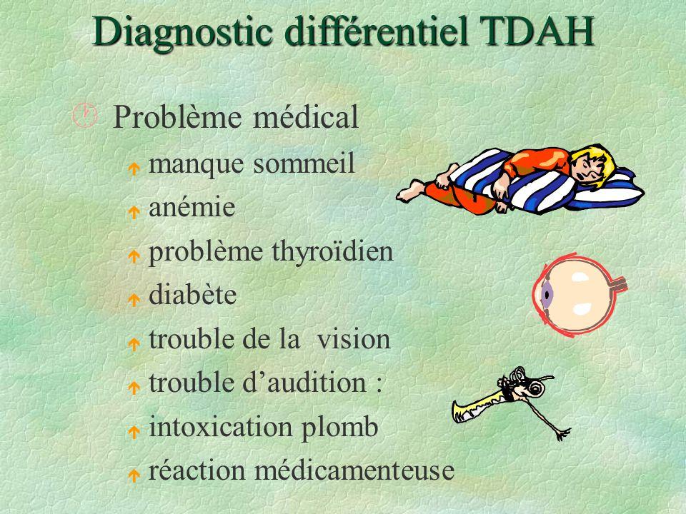 Diagnostic différentiel TDAH ·Problème médical é manque sommeil é anémie é problème thyroïdien é diabète é trouble de la vision é trouble daudition :