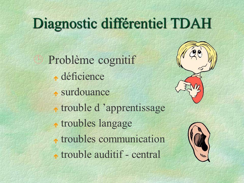 Diagnostic différentiel TDAH ¹Problème cognitif é déficience é surdouance é trouble d apprentissage é troubles langage é troubles communication é trou
