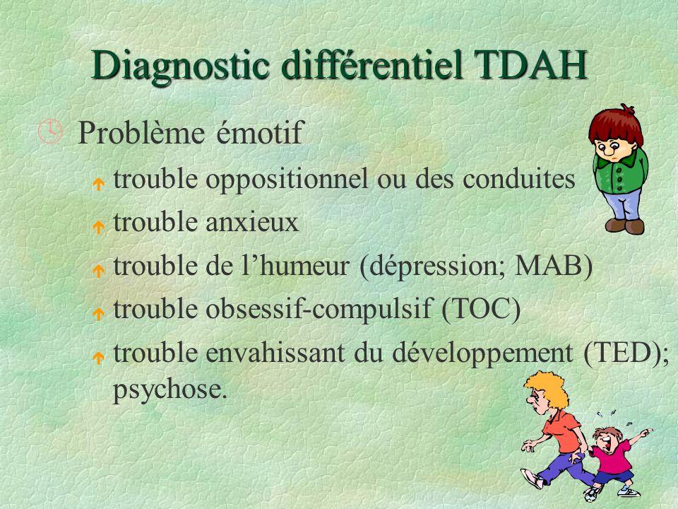 Diagnostic différentiel TDAH ºProblème émotif é trouble oppositionnel ou des conduites é trouble anxieux é trouble de lhumeur (dépression; MAB) é trou