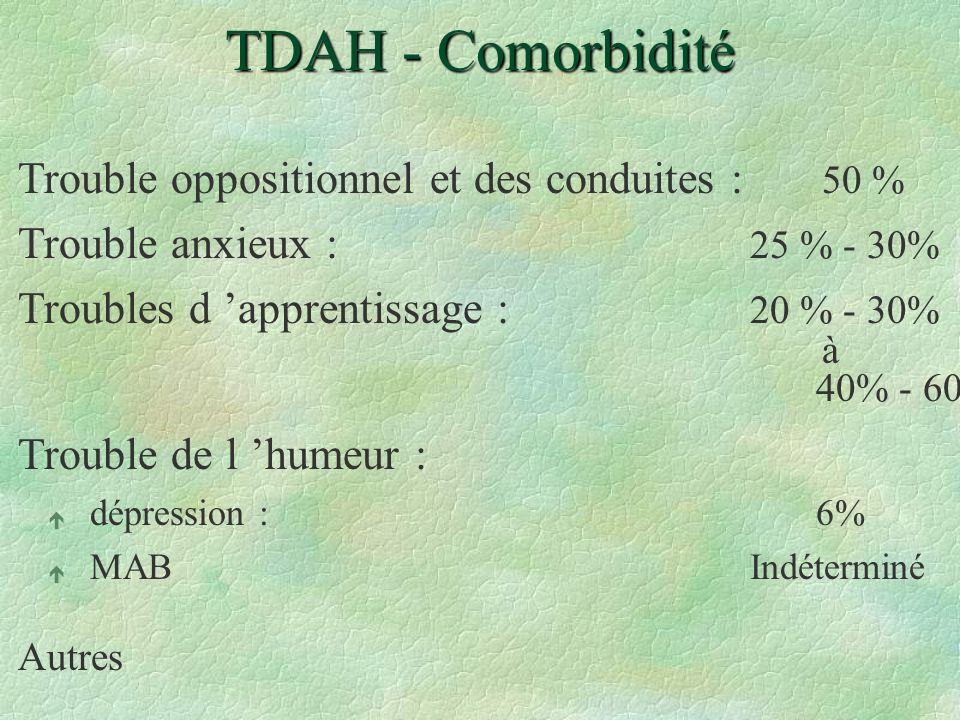 TDAH - Comorbidité Trouble oppositionnel et des conduites : 50 % Trouble anxieux : 25 % - 30% Troubles d apprentissage : 20 % - 30% à 40% - 60% Troubl