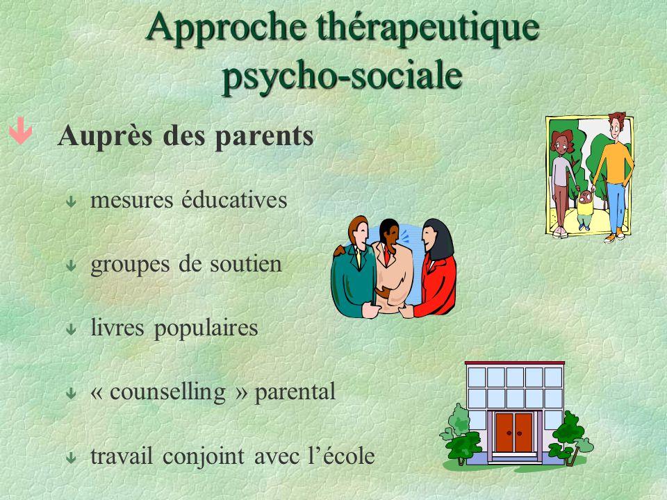 Approche thérapeutique psycho-sociale êAuprès des parents ê mesures éducatives ê groupes de soutien ê livres populaires ê « counselling » parental ê t