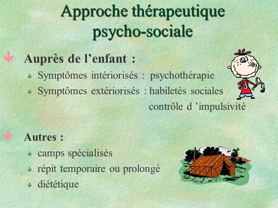 Approche thérapeutique psycho-sociale êAuprès de lenfant : ê Symptômes intériorisés : psychothérapie ê Symptômes extériorisés : habiletés sociales con