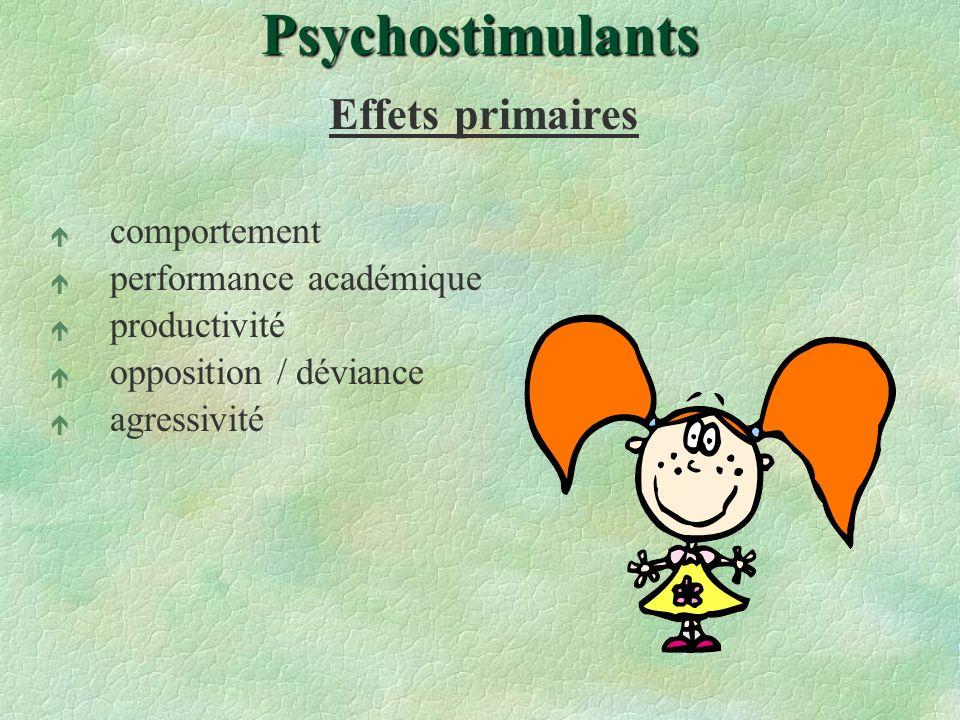 Psychostimulants Effets primaires é comportement é performance académique é productivité é opposition / déviance é agressivité