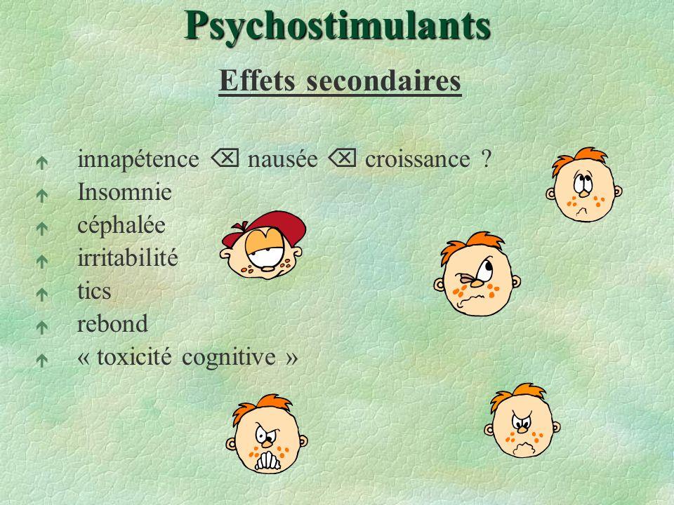 Psychostimulants Effets secondaires é innapétence nausée croissance ? é Insomnie é céphalée é irritabilité é tics é rebond é « toxicité cognitive »