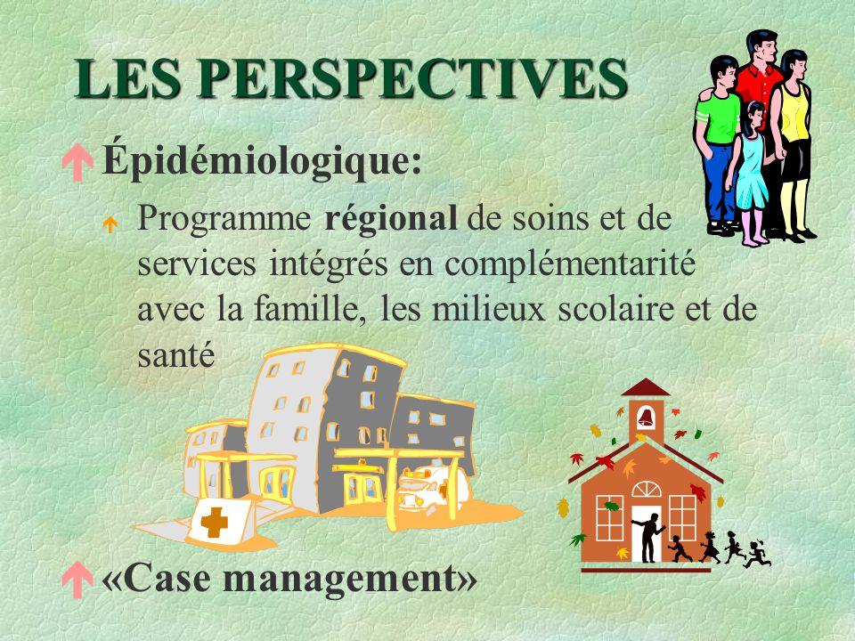 LES PERSPECTIVES é Épidémiologique: é Programme régional de soins et de services intégrés en complémentarité avec la famille, les milieux scolaire et