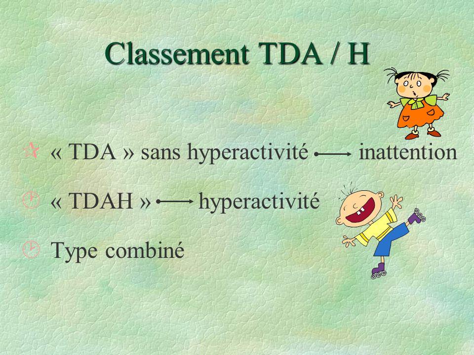 Classement TDA / H ¶« TDA » sans hyperactivité inattention ·« TDAH » hyperactivité ¸Type combiné
