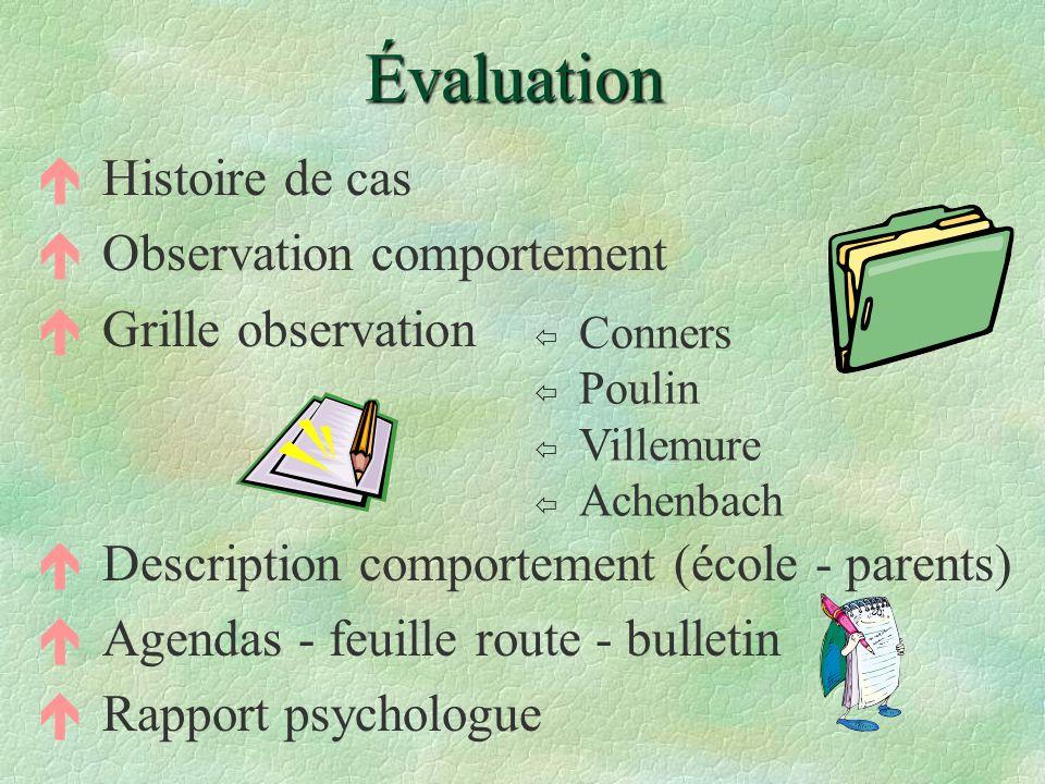 Évaluation éHistoire de cas éObservation comportement éGrille observation éDescription comportement (école - parents) éAgendas - feuille route - bulle