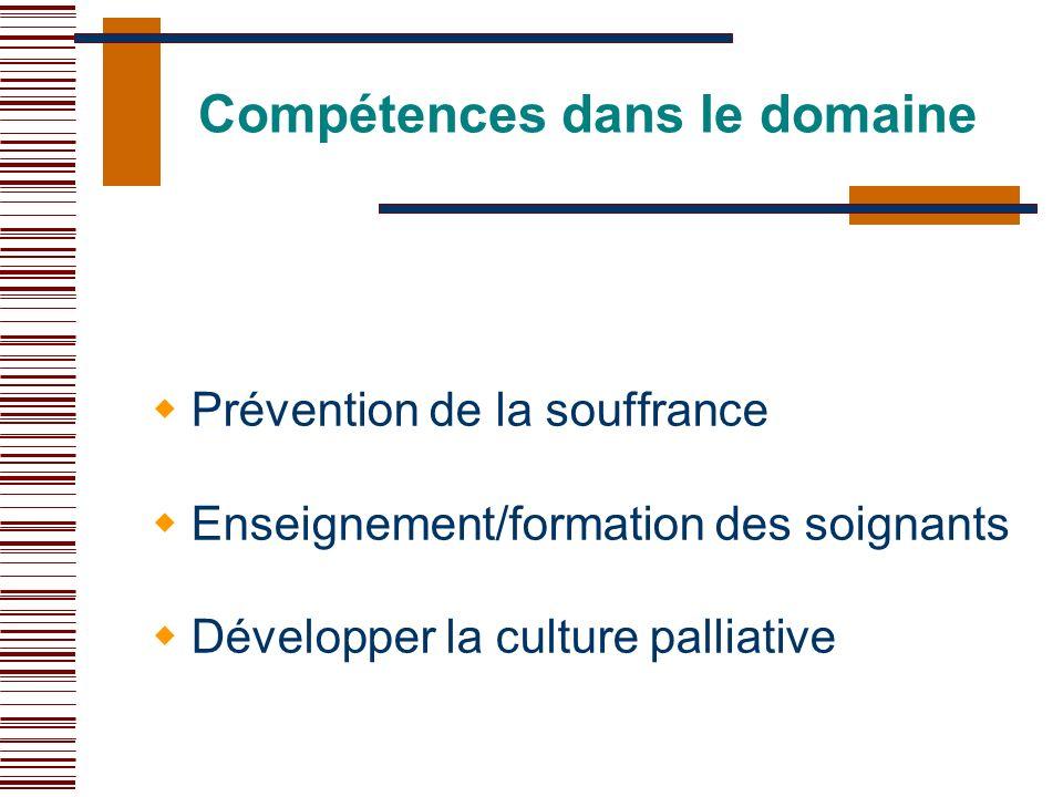 Compétences dans le domaine Prévention de la souffrance Enseignement/formation des soignants Développer la culture palliative
