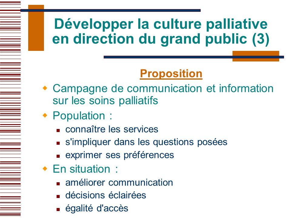 Proposition Campagne de communication et information sur les soins palliatifs Population : connaître les services s'impliquer dans les questions posée