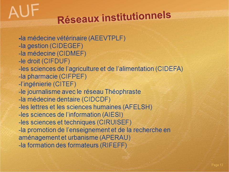 Page 13 -la médecine vétérinaire (AEEVTPLF) -la gestion (CIDEGEF) -la médecine (CIDMEF) -le droit (CIFDUF) -les sciences de lagriculture et de lalimen
