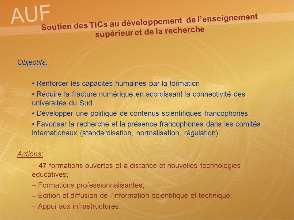 Soutien des TICs au développement de lenseignement supérieur et de la recherche Objectifs: Renforcer les capacités humaines par la formation Réduire l
