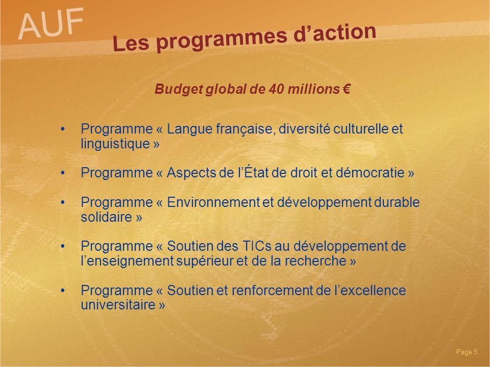 Page 5 Budget global de 40 millions Programme « Langue française, diversité culturelle et linguistique » Programme « Aspects de lÉtat de droit et démo