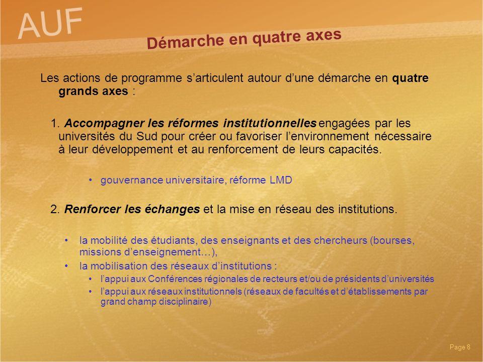 Page 8 Les actions de programme sarticulent autour dune démarche en quatre grands axes : 1. Accompagner les réformes institutionnelles engagées par le