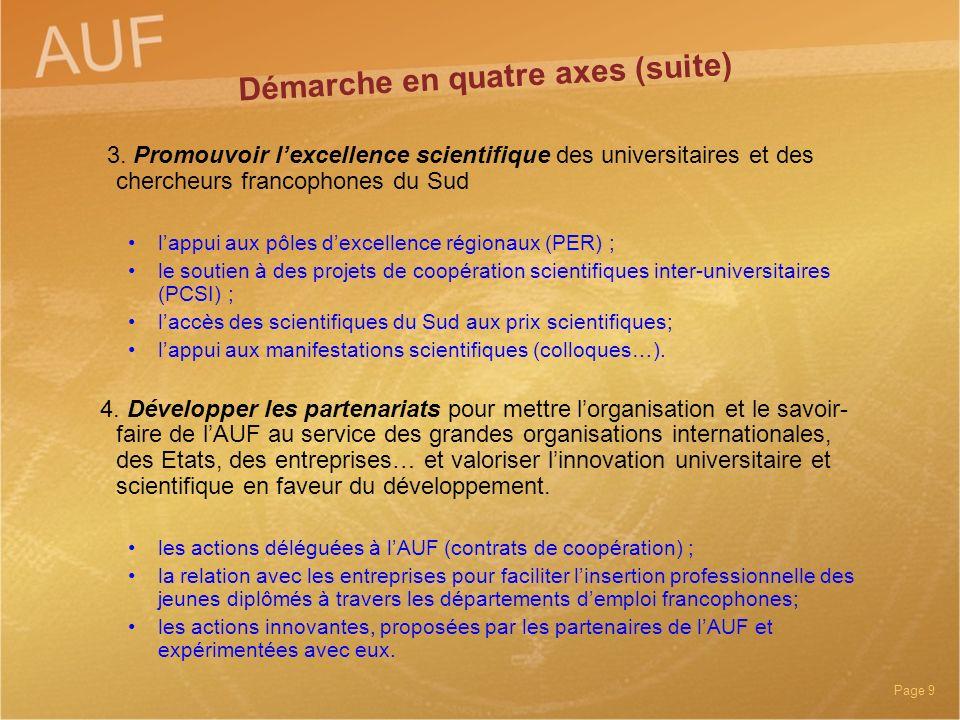 Page 9 3. Promouvoir lexcellence scientifique des universitaires et des chercheurs francophones du Sud lappui aux pôles dexcellence régionaux (PER) ;