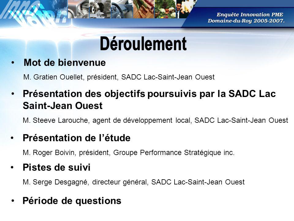 B) Actions à entreprendre auprès des entreprises du Domaine- du-Roy Étant donné que la grande dépendance des entreprises du Domaine-du-Roy envers ses clients/fournisseurs du Saguenay- Lac-Saint-Jean sest accrue sensiblement de 2001 à 2008, il faudrait développer des mesures de nature à augmenter lutilisation des sources de connaissances qui se situent à lextérieur du Saguenay-Lac-Saint-Jean.
