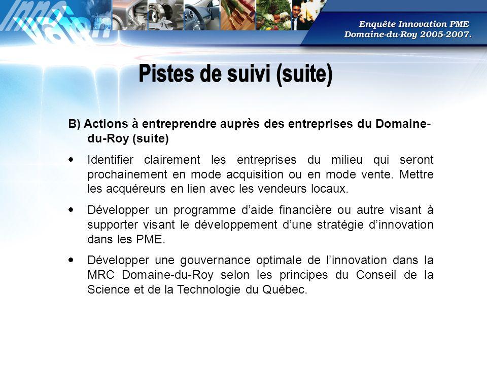 B) Actions à entreprendre auprès des entreprises du Domaine- du-Roy (suite) Identifier clairement les entreprises du milieu qui seront prochainement en mode acquisition ou en mode vente.