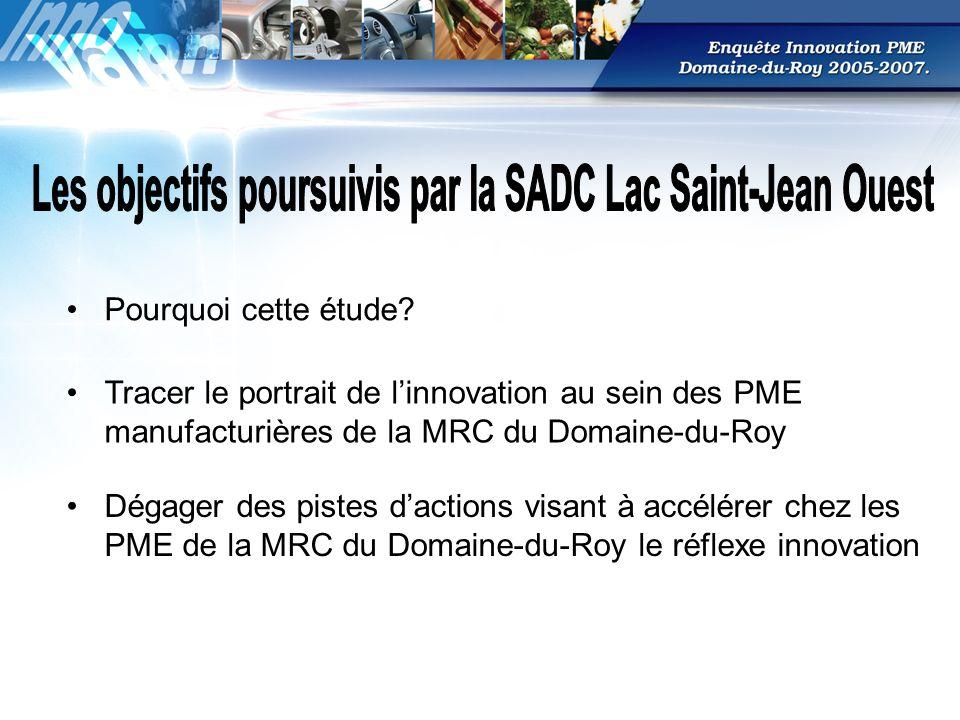 Tracer le portrait de linnovation au sein des PME manufacturières de la MRC du Domaine-du-Roy Dégager des pistes dactions visant à accélérer chez les PME de la MRC du Domaine-du-Roy le réflexe innovation Pourquoi cette étude