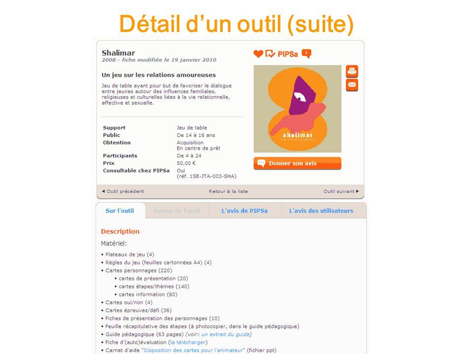 Détail dun outil (suite)