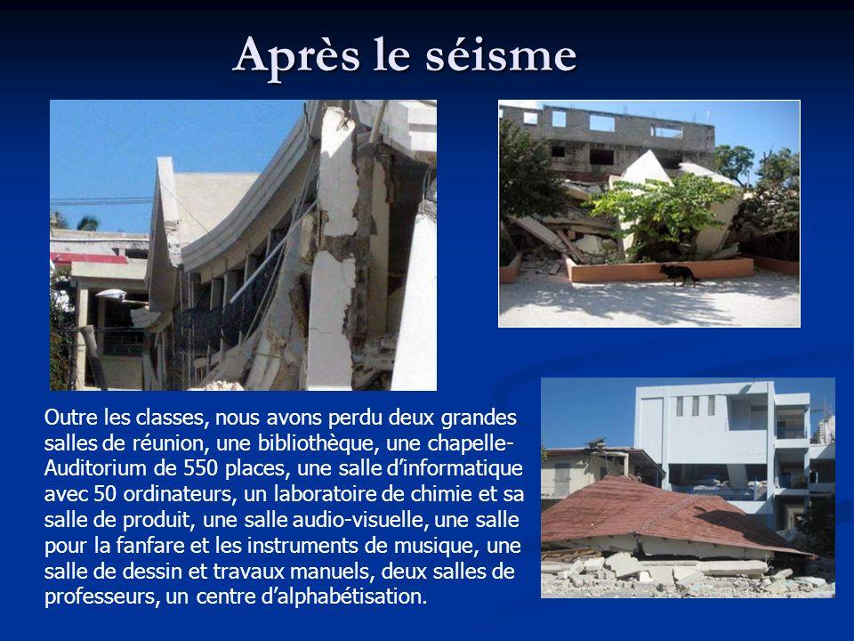 Après le séisme Outre les classes, nous avons perdu deux grandes salles de réunion, une bibliothèque, une chapelle- Auditorium de 550 places, une sall