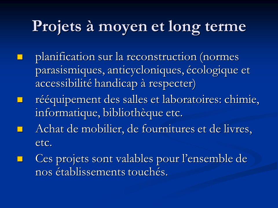 Projets à moyen et long terme planification sur la reconstruction (normes parasismiques, anticycloniques, écologique et accessibilité handicap à respe