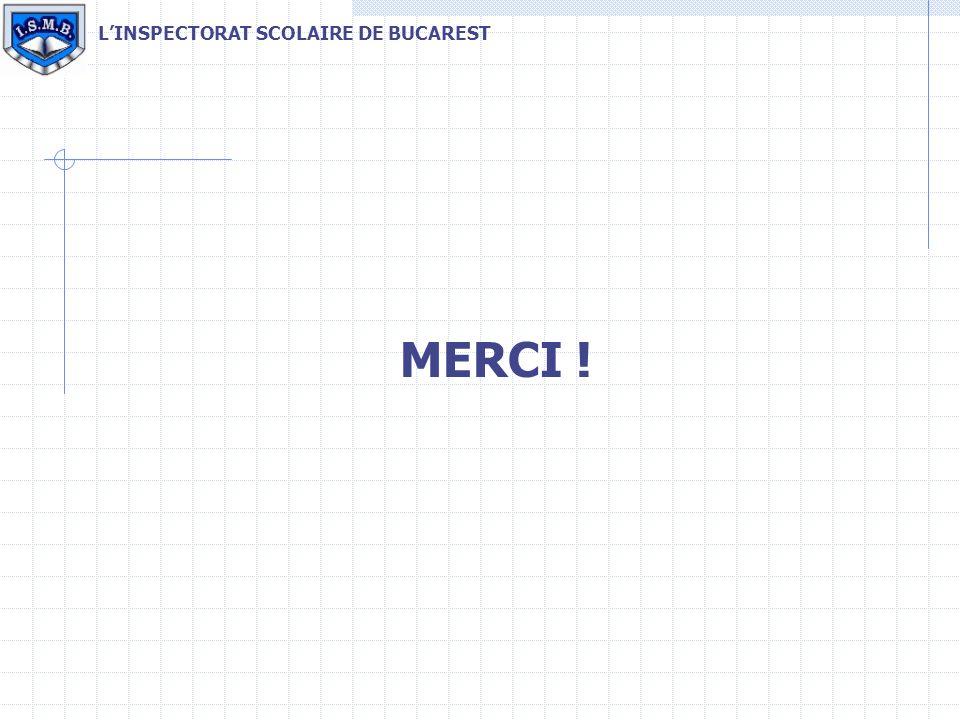 MERCI ! LINSPECTORAT SCOLAIRE DE BUCAREST