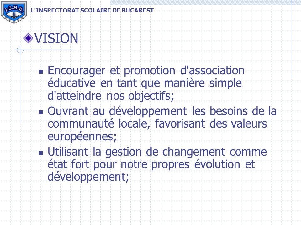 VISION Encourager et promotion d association éducative en tant que manière simple d atteindre nos objectifs; Ouvrant au développement les besoins de la communauté locale, favorisant des valeurs européennes; Utilisant la gestion de changement comme état fort pour notre propres évolution et développement; LINSPECTORAT SCOLAIRE DE BUCAREST