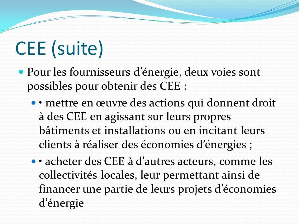 CEE (suite) Pour les fournisseurs dénergie, deux voies sont possibles pour obtenir des CEE : mettre en œuvre des actions qui donnent droit à des CEE e