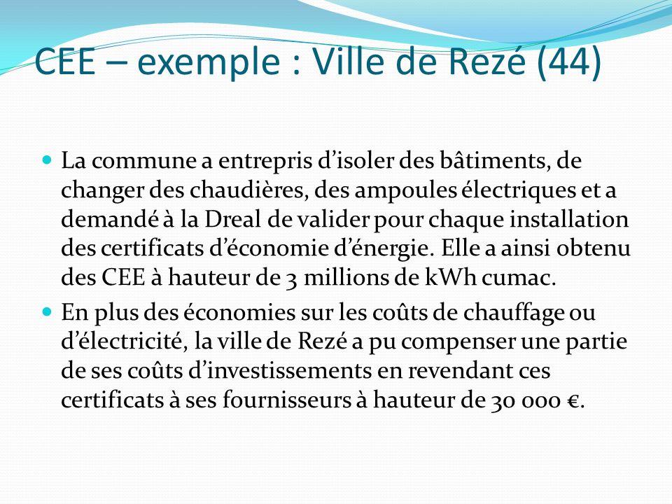 CEE – exemple : Ville de Rezé (44) La commune a entrepris disoler des bâtiments, de changer des chaudières, des ampoules électriques et a demandé à la