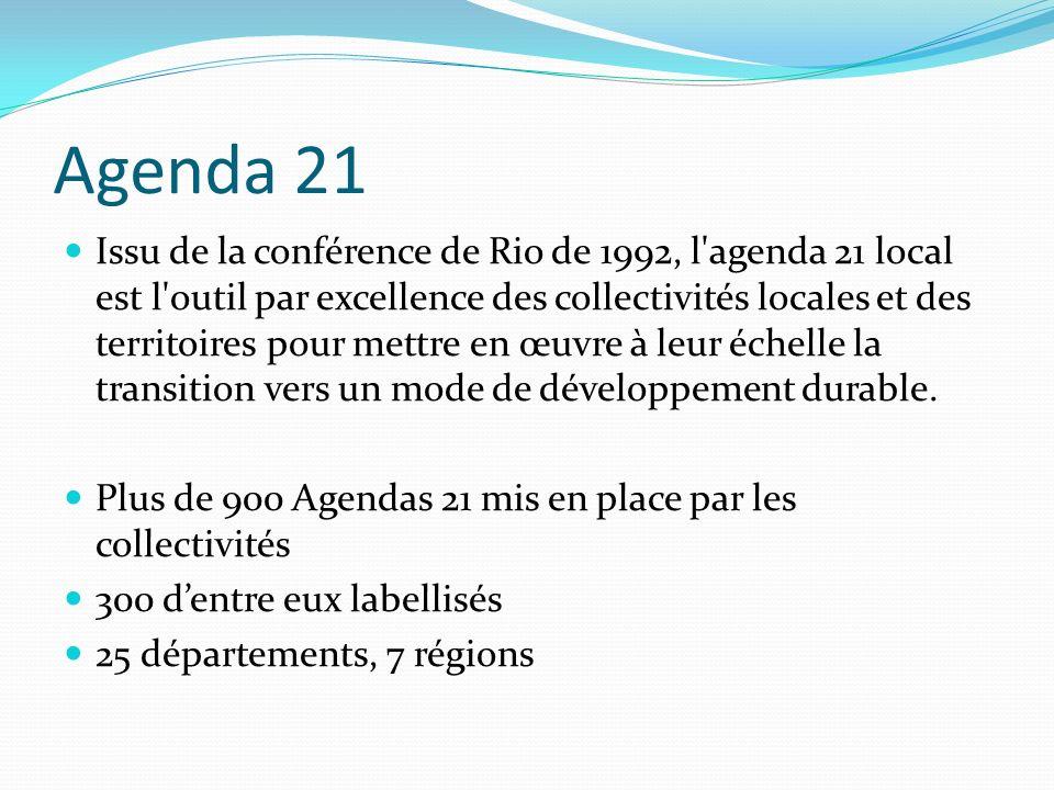 Agenda 21 Issu de la conférence de Rio de 1992, l'agenda 21 local est l'outil par excellence des collectivités locales et des territoires pour mettre