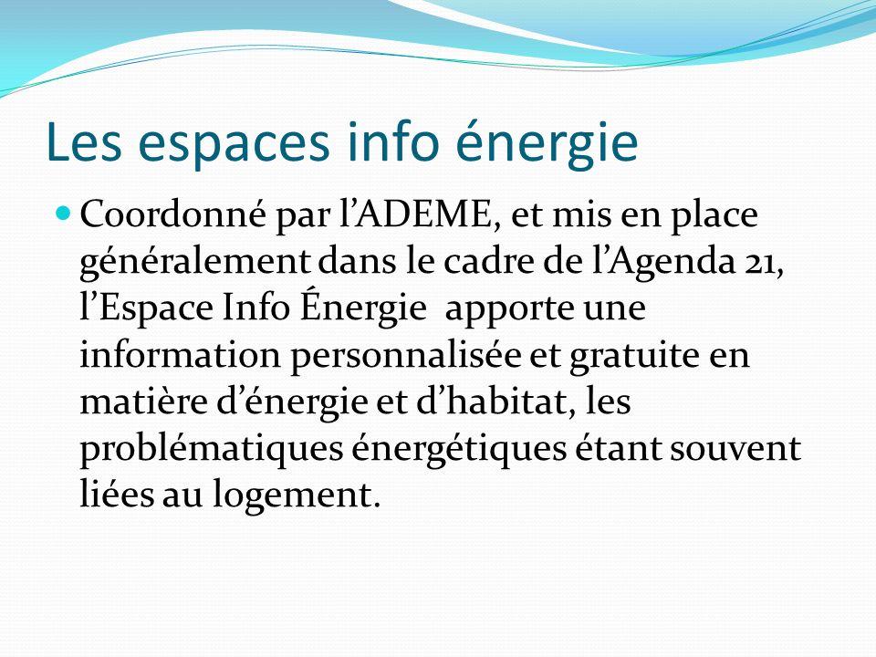 Les espaces info énergie Coordonné par lADEME, et mis en place généralement dans le cadre de lAgenda 21, lEspace Info Énergie apporte une information