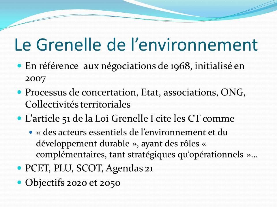 Le Grenelle de lenvironnement En référence aux négociations de 1968, initialisé en 2007 Processus de concertation, Etat, associations, ONG, Collectivi