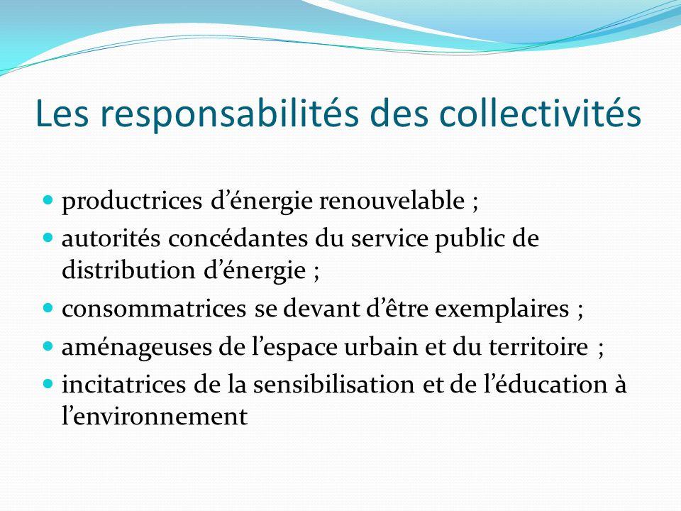 Les responsabilités des collectivités productrices dénergie renouvelable ; autorités concédantes du service public de distribution dénergie ; consomma