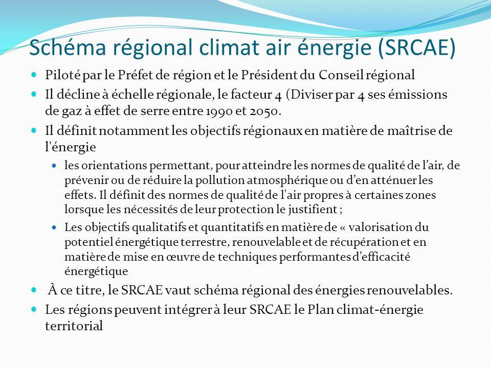 Schéma régional climat air énergie (SRCAE) Piloté par le Préfet de région et le Président du Conseil régional Il décline à échelle régionale, le facte