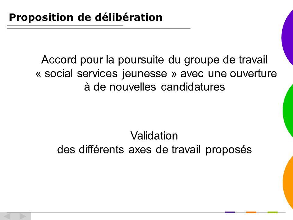 Proposition de délibération Accord pour la poursuite du groupe de travail « social services jeunesse » avec une ouverture à de nouvelles candidatures Validation des différents axes de travail proposés