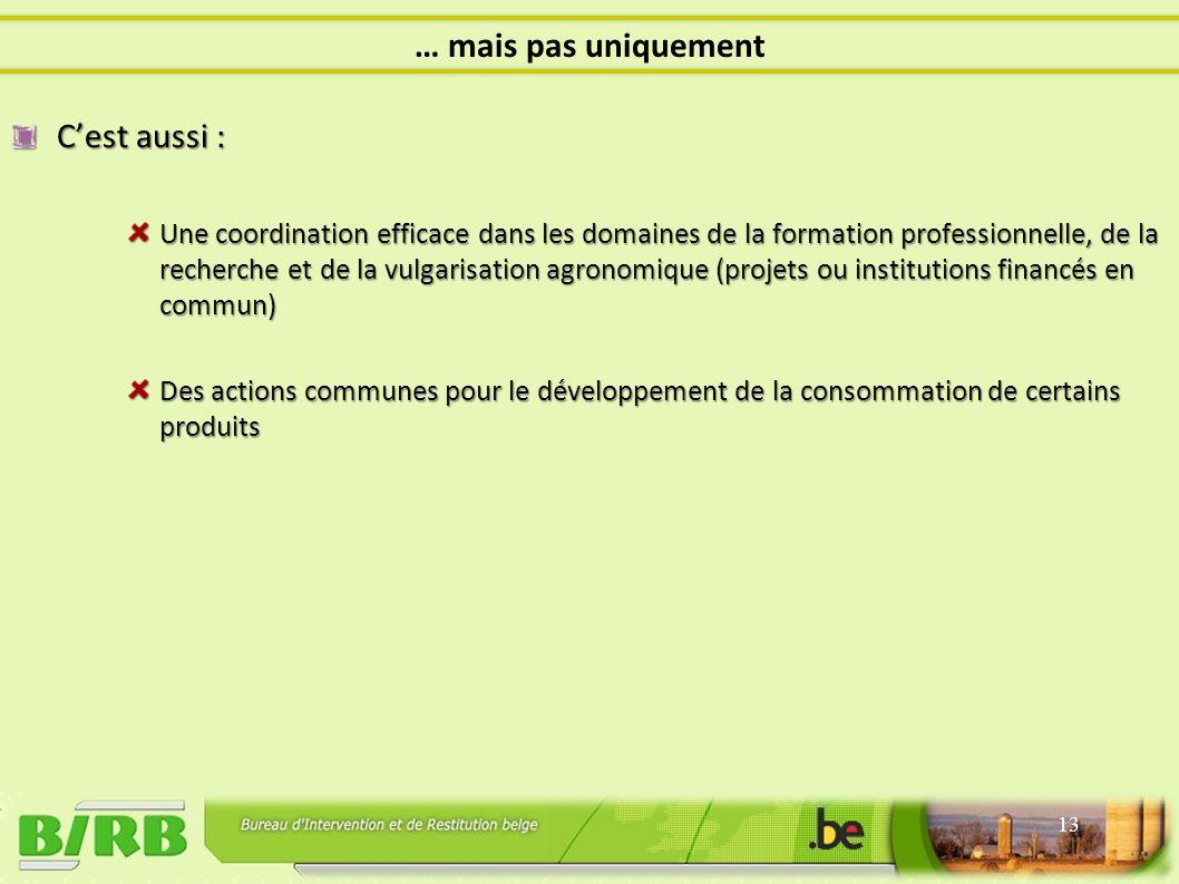 Cest aussi : Une coordination efficace dans les domaines de la formation professionnelle, de la recherche et de la vulgarisation agronomique (projets ou institutions financés en commun) Des actions communes pour le développement de la consommation de certains produits 13