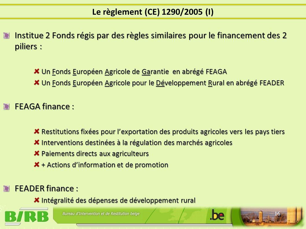 Institue 2 Fonds régis par des règles similaires pour le financement des 2 piliers : Un Fonds Européen Agricole de Garantie en abrégé FEAGA Un Fonds Européen Agricole pour le Développement Rural en abrégé FEADER FEAGA finance : Restitutions fixées pour lexportation des produits agricoles vers les pays tiers Interventions destinées à la régulation des marchés agricoles Paiements directs aux agriculteurs + Actions dinformation et de promotion FEADER finance : Intégralité des dépenses de développement rural 16