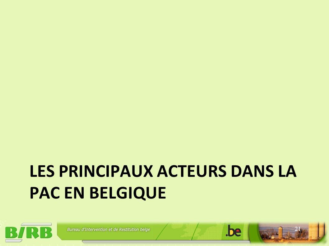 LES PRINCIPAUX ACTEURS DANS LA PAC EN BELGIQUE 21