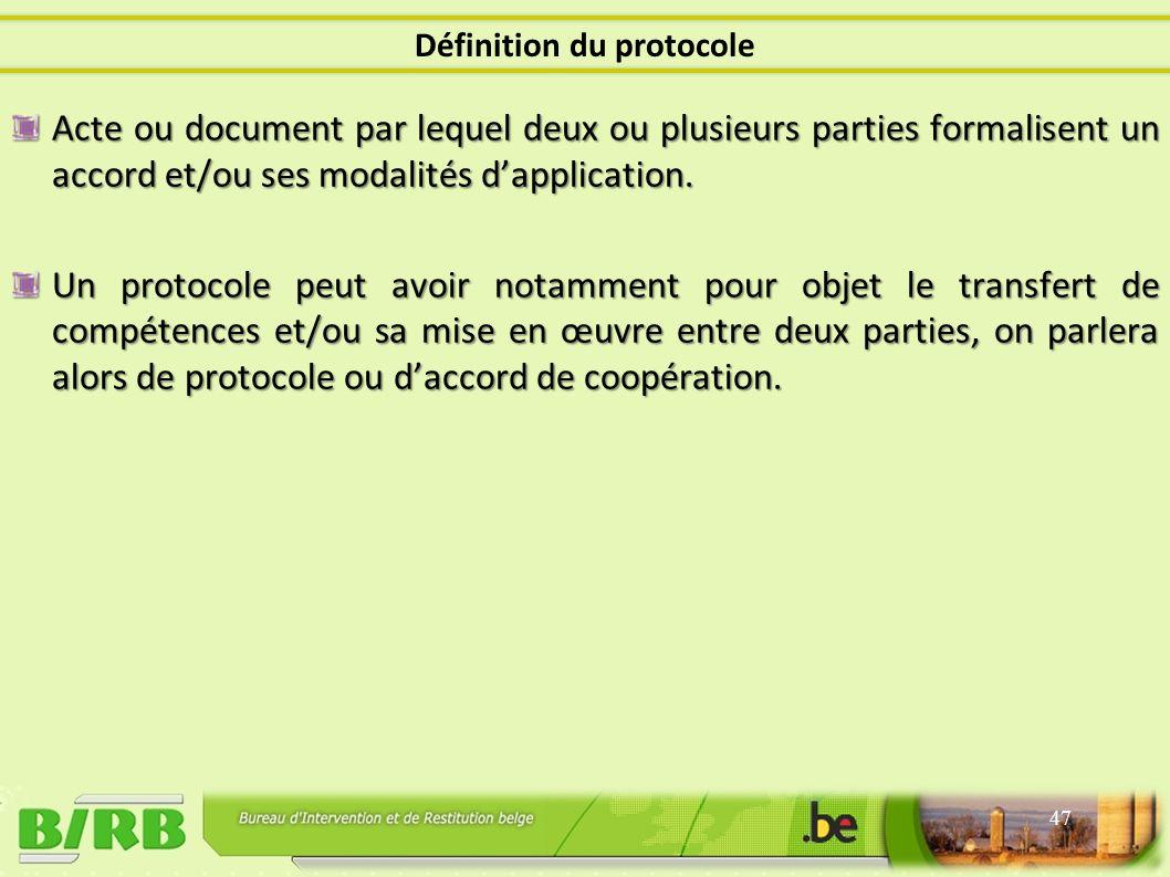 Acte ou document par lequel deux ou plusieurs parties formalisent un accord et/ou ses modalités dapplication.