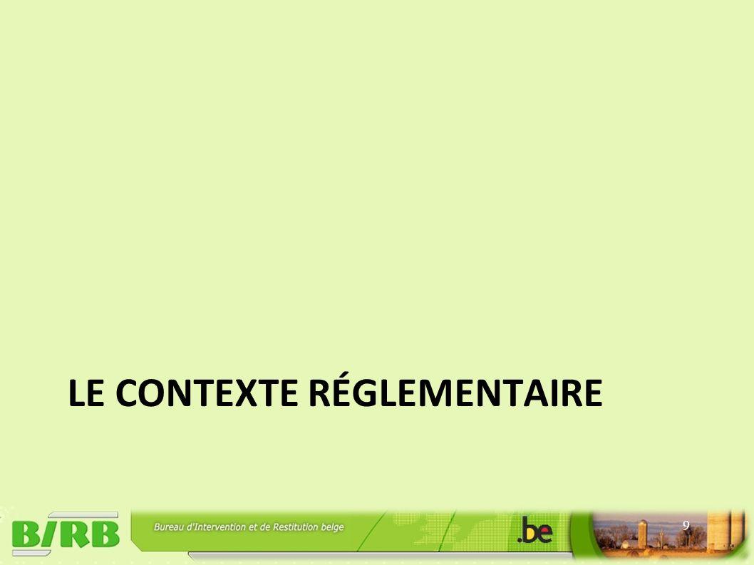 LE CONTEXTE RÉGLEMENTAIRE 9