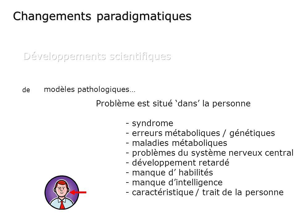 modèles pathologiques… Problème est situé dans la personne - syndrome - erreurs métaboliques / génétiques - maladies métaboliques - problèmes du systè