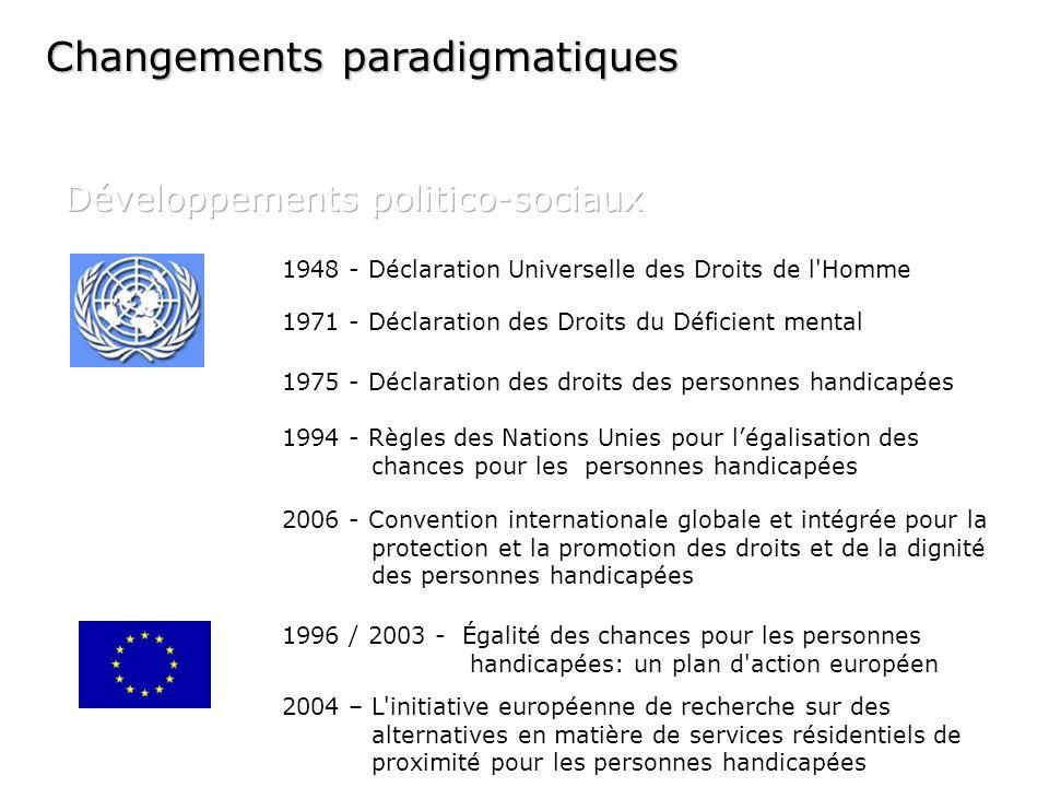 1948 - Déclaration Universelle des Droits de l'Homme 1971 - Déclaration des Droits du Déficient mental 1975 - Déclaration des droits des personnes han