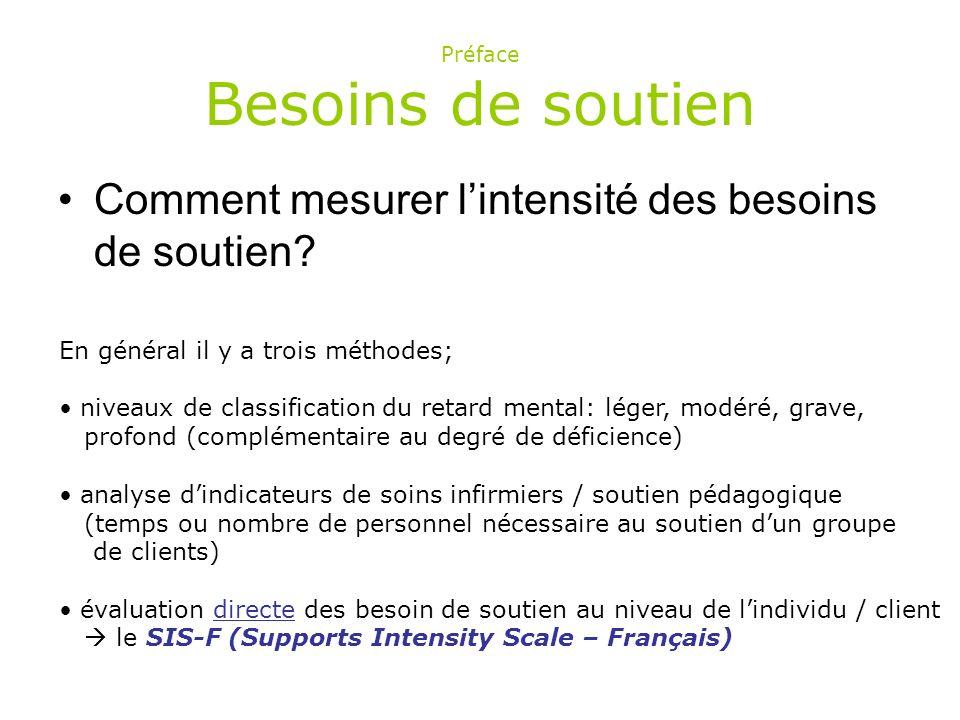 La SIS-F est une échelle d évaluation des besoins de soutien qui ne vise pas à mesurer les compétences d une personne déficiente intellectuelle, mais lintensité de ses besoins de soutien dans 9 domaines de la vie.