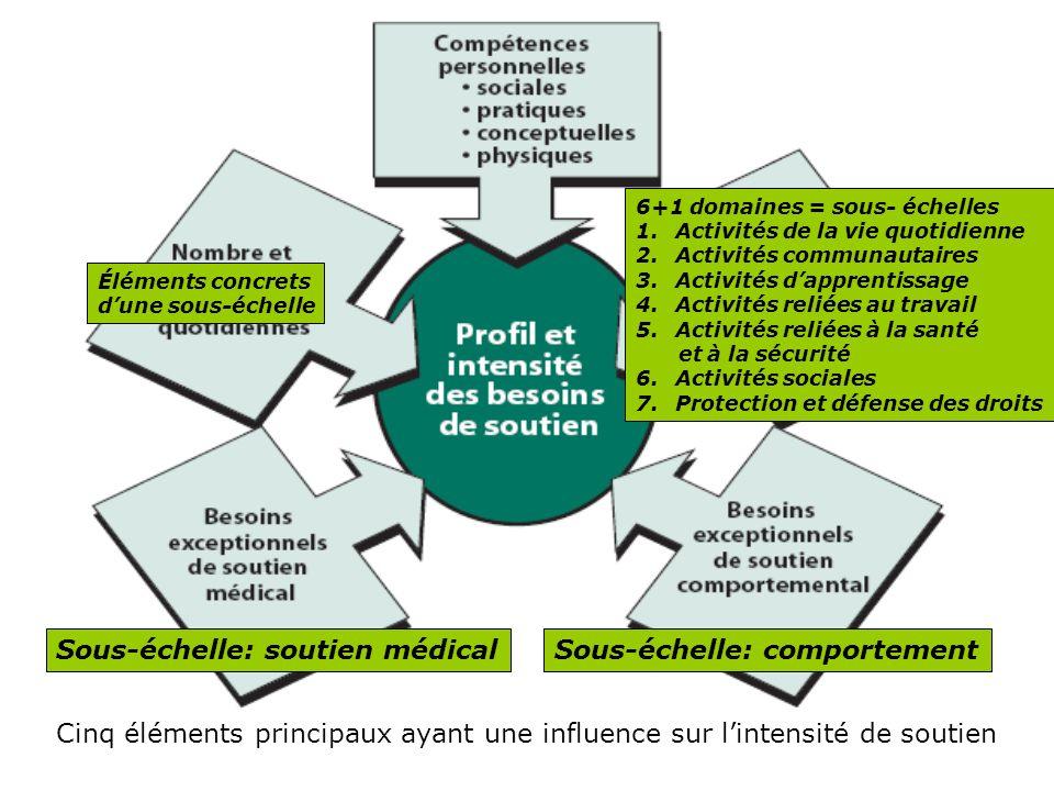 Cinq éléments principaux ayant une influence sur lintensité de soutien 6+1 domaines = sous- échelles 1.Activités de la vie quotidienne 2.Activités com
