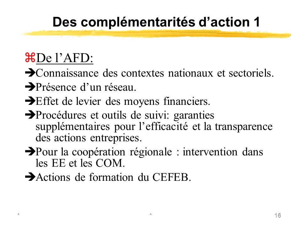 **16 Des complémentarités daction 1 zDe lAFD: èConnaissance des contextes nationaux et sectoriels.