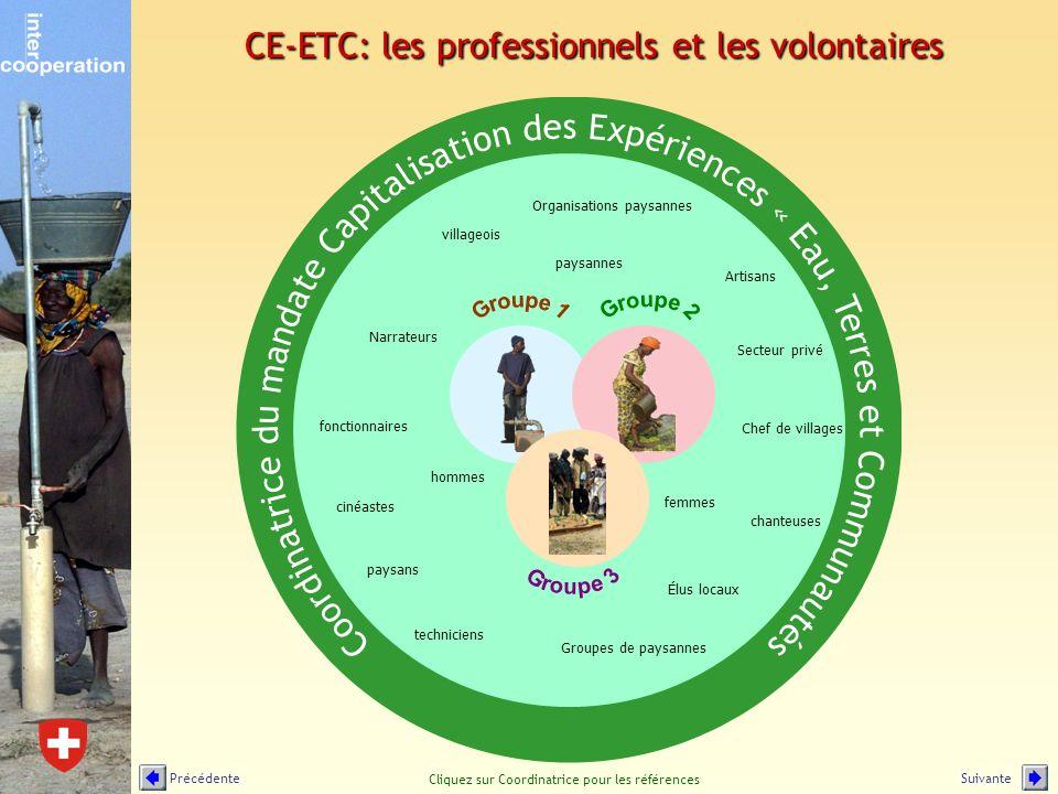 CE-ETC: les professionnels et les volontaires techniciens paysans paysannes hommes femmes villageois Élus locaux Chef de villages Groupes de paysannes