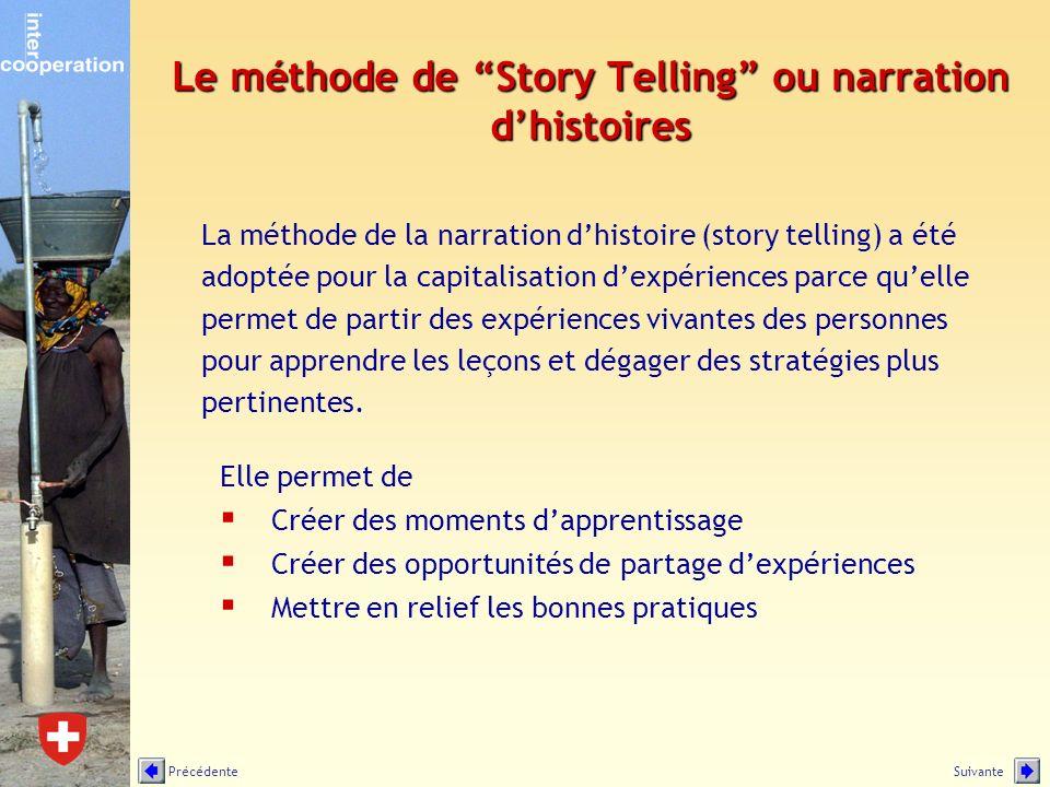 Le méthode de Story Telling ou narration dhistoires Elle permet de Créer des moments dapprentissage Créer des opportunités de partage dexpériences Met