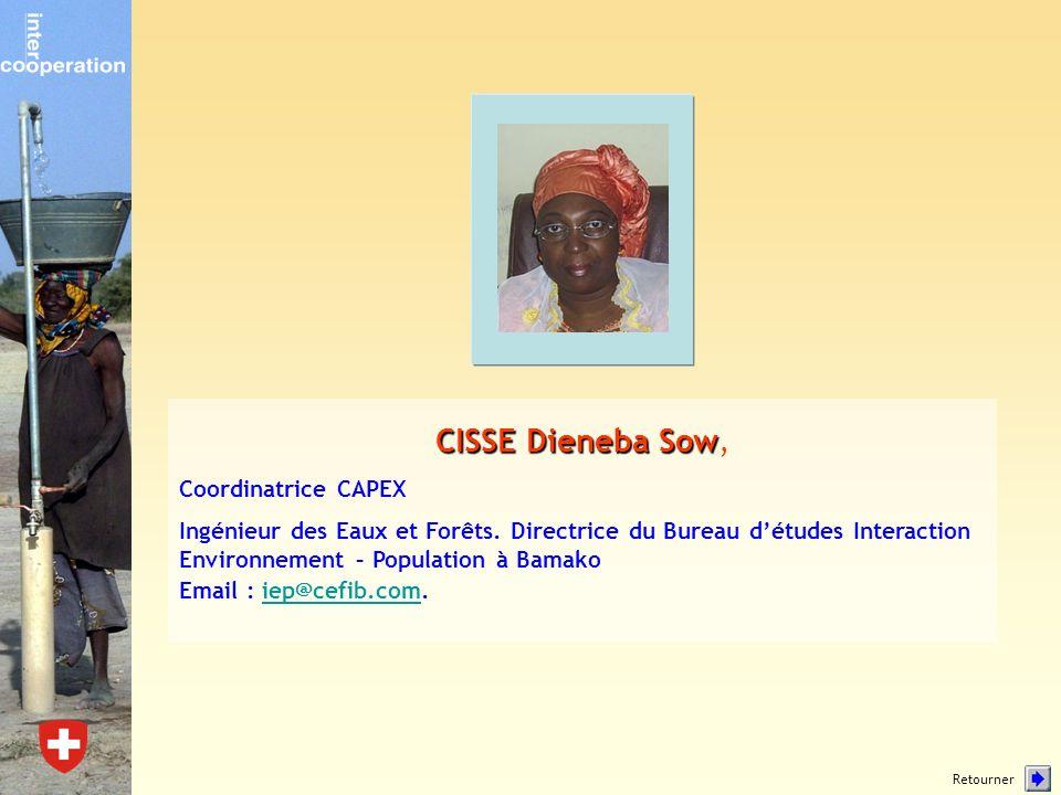 CISSE Dieneba Sow CISSE Dieneba Sow, Coordinatrice CAPEX Ingénieur des Eaux et Forêts. Directrice du Bureau détudes Interaction Environnement – Popula
