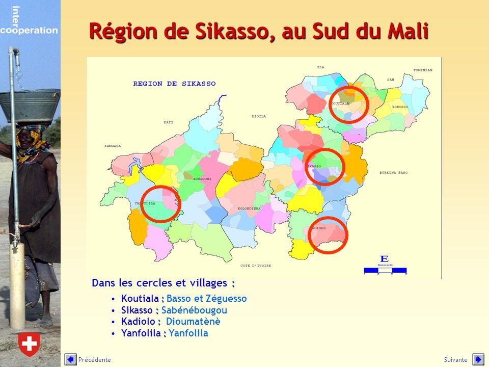 : Dans les cercles et villages : :Koutiala : Basso et Zéguesso :Sikasso : Sabénébougou :Kadiolo : Dioumatènè :Yanfolila : Yanfolila Région de Sikasso,
