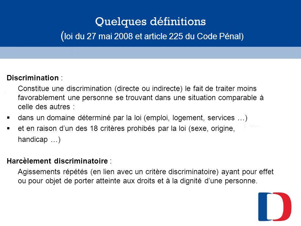 Quelques définitions (suite) Toute injustice nest pas une discrimination.